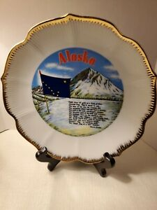 Alaska Historical Collector S Plate With Gold Rim Denali Flag And Drake Poem Ebay