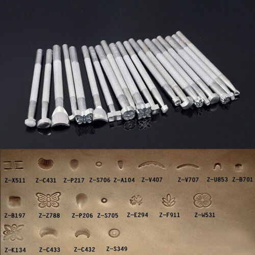20PCS Manual Leather Craft Stamping Carved Wooden Hammer Embossing Tools Kit Set