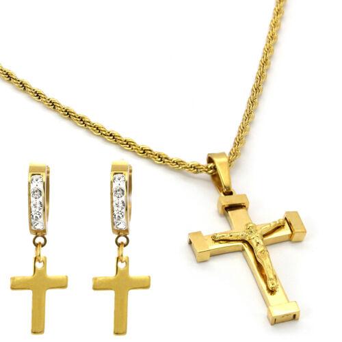 Hip Hop Stainless Steel 1 Row Cz Huggie Hoop Earring St-Cross Pendant Rope Chain