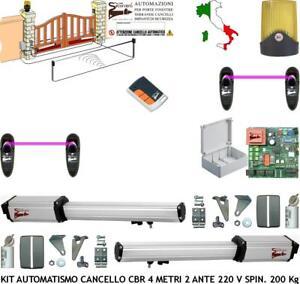 Cancello Elettrico A Due Ante.Cancello Elettrico 2 Ante 4 Mt Kit Automatismo Cbr 220 V Radioc 2