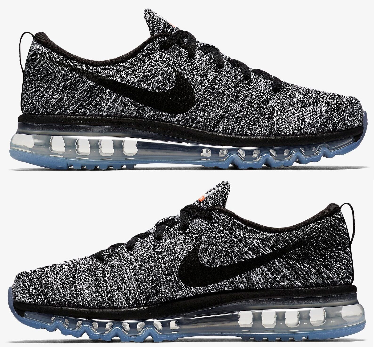 NIKE FLYKNIT AIR MAX MEN's RUNNING M MESH WHITE - BLACK - COOL GREY AUTHENTIC SZ