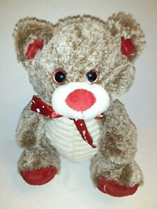 Kellytoy-Brown-White-And-Red-Bear-10-034-Plush-Stuffed-Animal