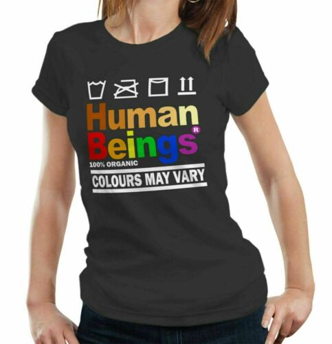 Human Beings Matter Tshirt Fitted Ladies White 100/% Organic Lives Black