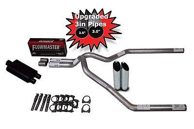 "Dodge Ram 94-03 3/"" Dual Exhaust Kit Flowmaster Super 44 Slash Cut Tips"