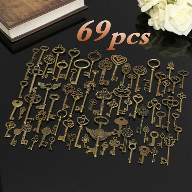 Set of 69 Antique Vintage Old Look Bronze Skeleton Key Fancy Heart Bow Pendant J