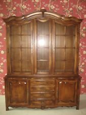 Ethan Allen Country French Lighted Glass China Cabinet 26 6318 Fruitwood  Finish