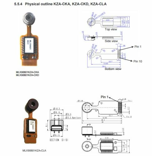 MLX90601C SPI Thermomètre infrarouge Module par MELEXIS arduino 20//120 ° C 5 V Supply