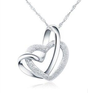 925-Sterling-Silber-Herz-Anhaenger-mit-Kette-Halskette-Herzkette-Silberschmuck