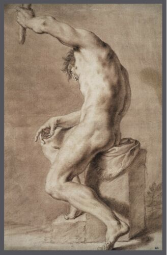 Drawing Antique Art Seated Nude Man Muscular Beautiful Artwork 1700/'s