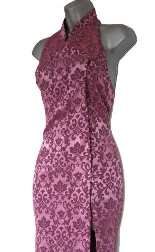 Karen abito Uk Jacquard Maxi Millen 8 cinese Halterneck Vintage Purple 36 stile RrnRzqW1
