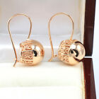 Vintage 14k Rose Gold Filled Filigree Swirl Spiral Large Ball Drop Earrings