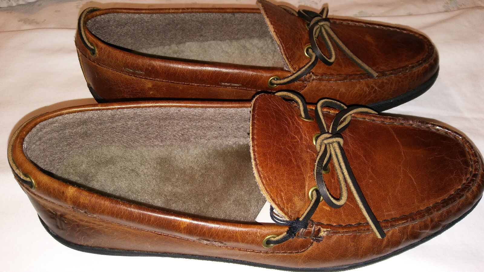 FRYE HUGH MOCCASIN DRIVE LOAFERS-SHEARLING INSOLE-OIL RUB BROWN-SZ 9.5-NEW