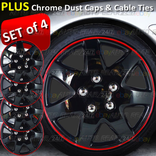 "13"" inch Gloss Ice Black Red Ring Wheel Trims Hub Cap Covers + Dust Caps + Ties"
