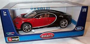 Bugatti Chiron in Red and Black - 1:18 Scale Diecast Car burago