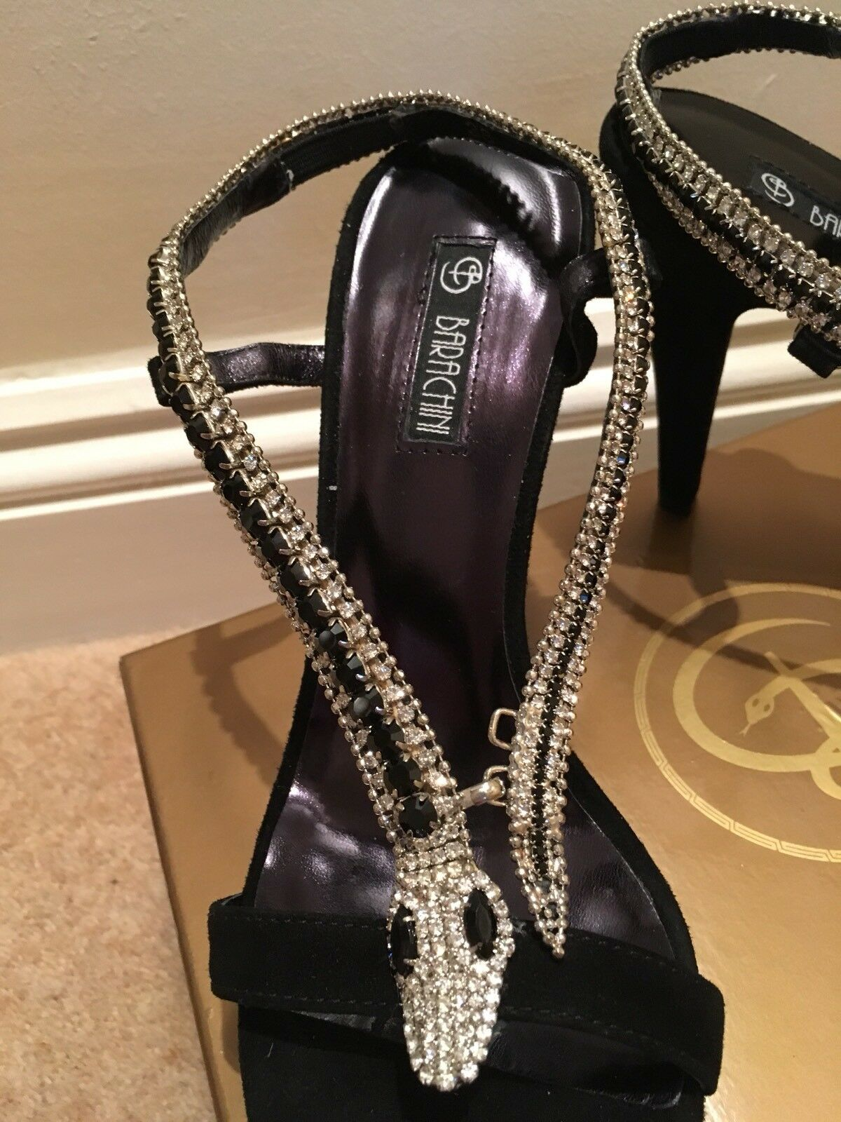 Evening schuhe Diamante fastening  snake decoration fastening Diamante NEW BOXED 355049