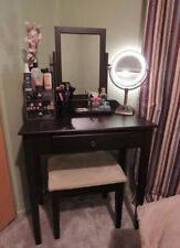 Make Up Vanity Set 3 Piece Wood Jewelry Table And Stool With Mirror Espresso