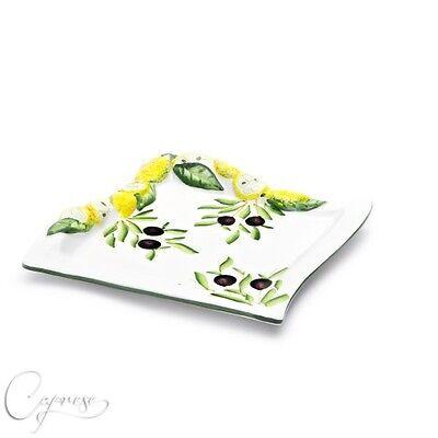 Qualità Al 100% Bassano Ceramica Quadrato Piatto 20 Cm Limone Motivo Dall'italia Nuovo-mostra Il Titolo Originale Facile E Semplice Da Gestire