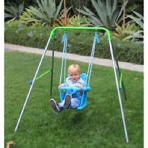 Swing Set Toddler Kids Baby Seat Foldable Frame Playground Play Set