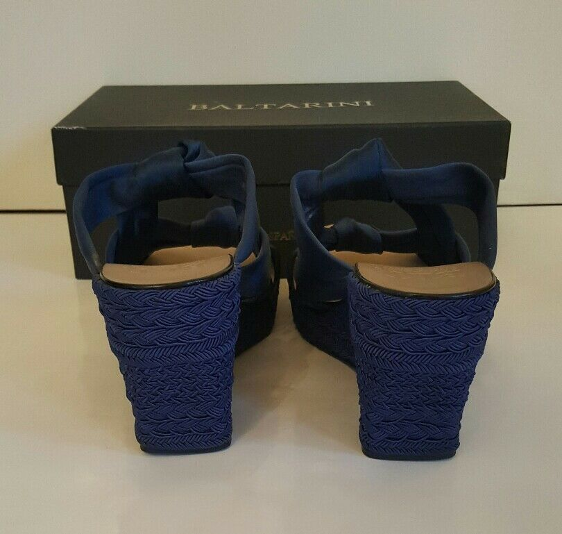 Baltarini Cobalt blue satin wedges with satin blue bow crossover. 987e37