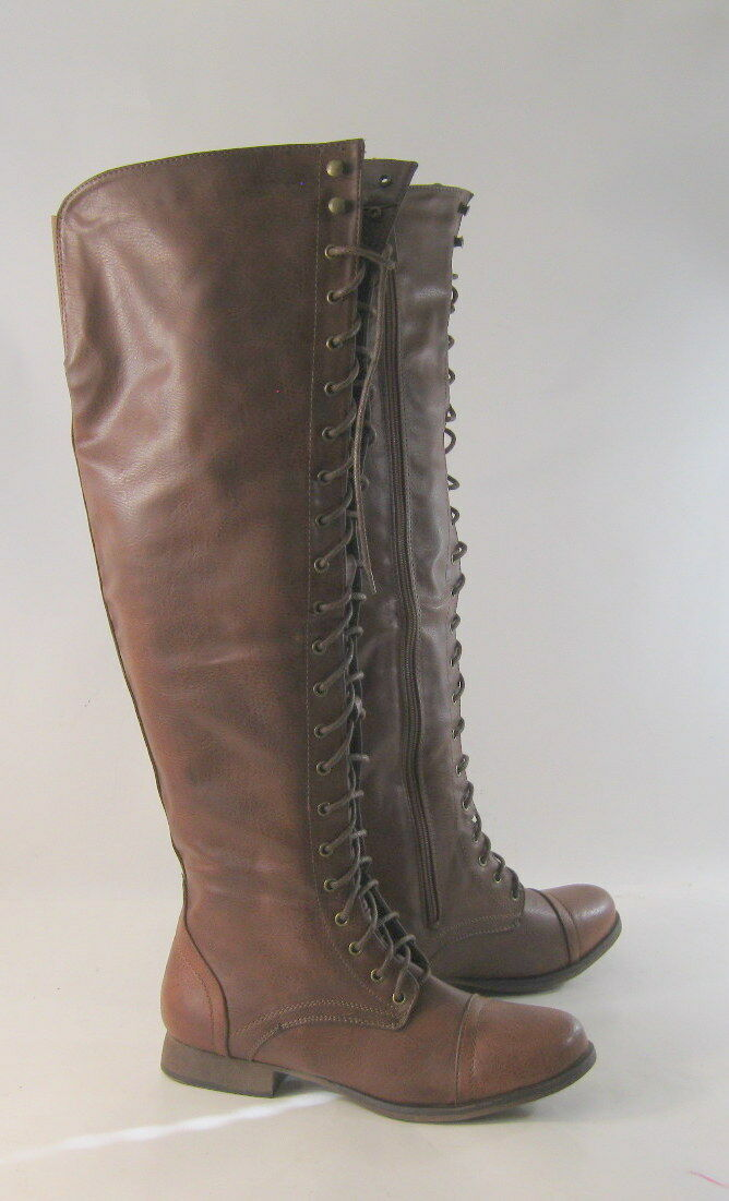 NEU ladies Tan 1 Low Heel Front Lace Up Long Over Knee  Sexy Boot Größe 7.5