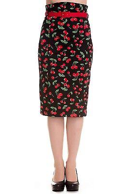 Hell Bunny Cherry Pop Skirt 50s Pinup RockabillyCherries Pencil Straight XS - XL
