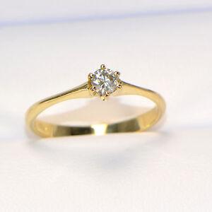 NEU-Diamantring-0-19-ct-in-Gelbgold-18K-Solitaer-Verlobung-Brillant-6-Krappen