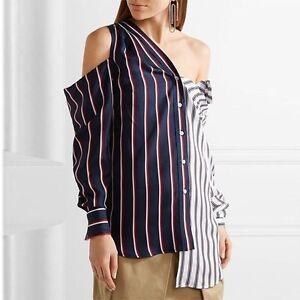 Korean-Womens-Off-Shoulder-Striped-Irregular-Tops-Female-T-shirt-Clothes-Blouses