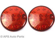 2 x 12/24v 14 LED Hamburger Rear Fog Light Red E4 Round Trailer Car Van New
