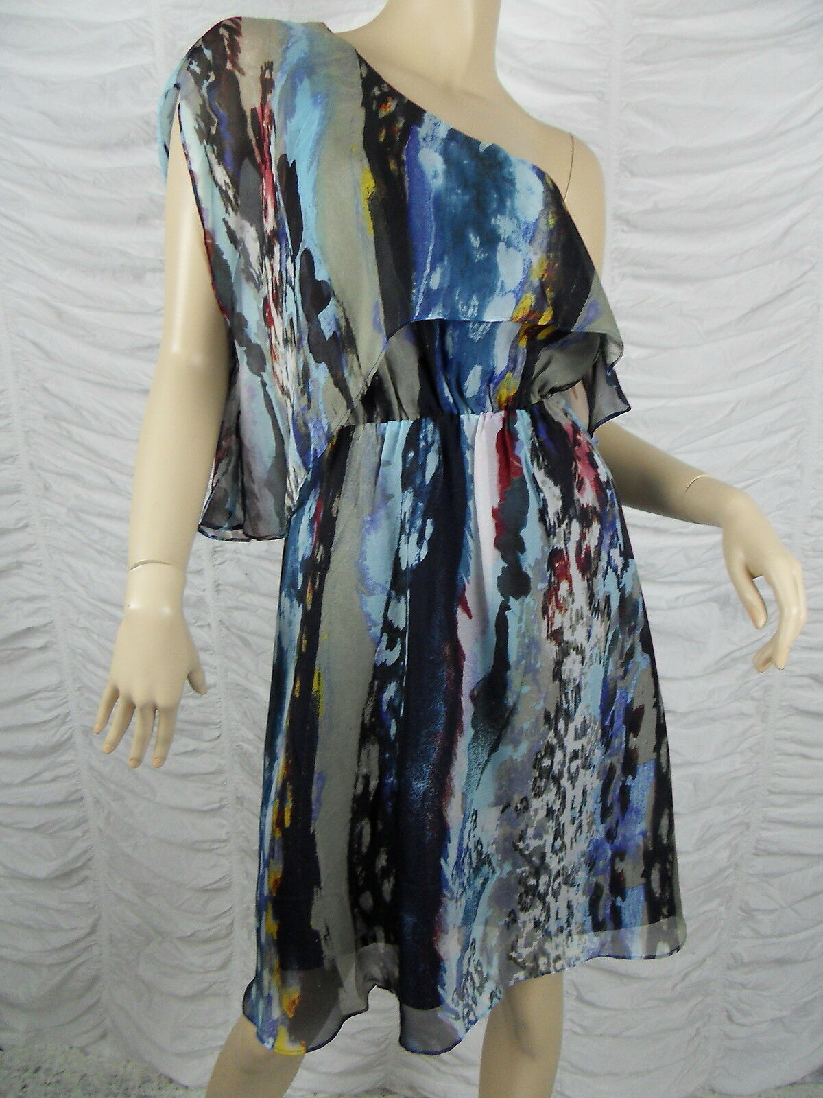 OJAY bluee off-shoulder marble print 100% silk dress size 10 NWOT