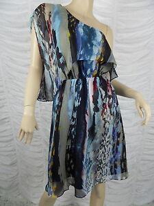 OJAY-blue-off-shoulder-marble-print-100-silk-dress-size-10-NWOT