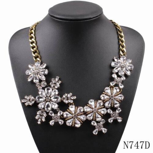 2018 New Fashion Colorful Flower Crystal Necklace Gold Chain Statement Necklace