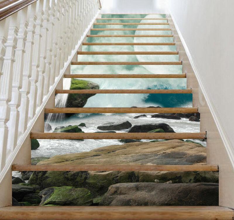 3D Waterfall moon 7 Stair Risers Decoration Photo Mural Vinyl Decal Wallpaper UK
