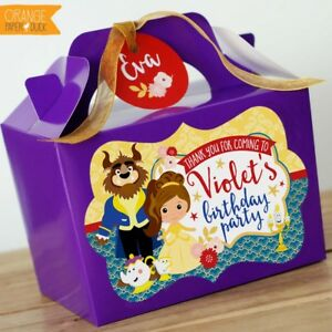 Details About Personalised Children S Beauty Beast Princess Birthday Party Bag Lunch Box