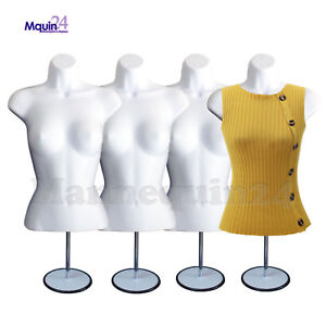 4 WHITE MANNEQUIN FEMALE TORSO  w/METAL STANDS + 4 HANGERS - 4 DRESS FORMS