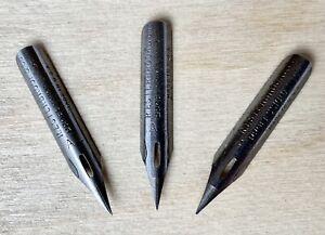 3 Vintage JOSEPH GILLOTT/'S 303 Willow Extra Fine Flex DREAM POINT Dip Pen Nibs