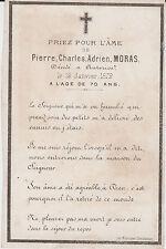 § MEMENTO PIERRE-CHARLES-ADRIEN MORAS + 1872 NOTAIRE AUTERIVE HAUTE-GARONNE §