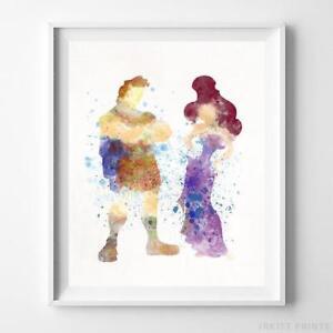 Hercules and Megara Wall Art Disney Watercolor Poster Nursery Decor UNFRAMED
