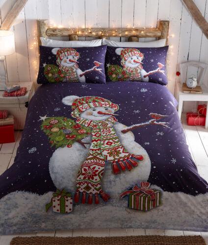 Christmas Happy Snowman Blue King Size Christmas Duvet Bedding Festive Set