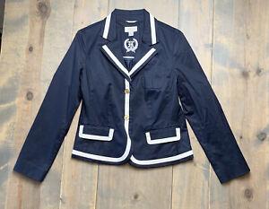 Talbots Petites Women's Navy Blue White Trim Nautical Lined Blazer Size: 10