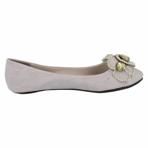 UPDATE L4R901 LADIES SLIP ON BALLET FLATS CASUAL EVENING FLORAL DOLLY SHOES