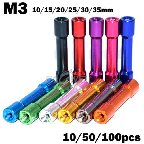 M3 10//15//20//25//30//35mm Multicolor Standoff Aluminum Column Round 10//50//100X HOT