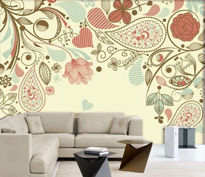 3D Fleurs Beauté 2 Photo Papier Peint en Autocollant Murale Plafond Chambre Art