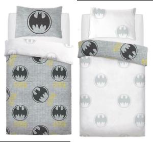 Batman Single Duvet Cover Bedding Set Grey Logo Reversible DC Superhero