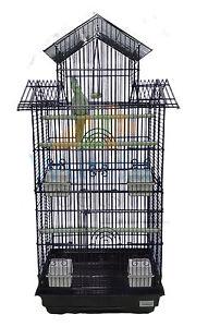 LIBERTA-JINTU-LARGE-COCKATIEL-CONURE-BUDGIE-BLACK-TALL-BIRD-CAGE-PERCHES-FEEDERS