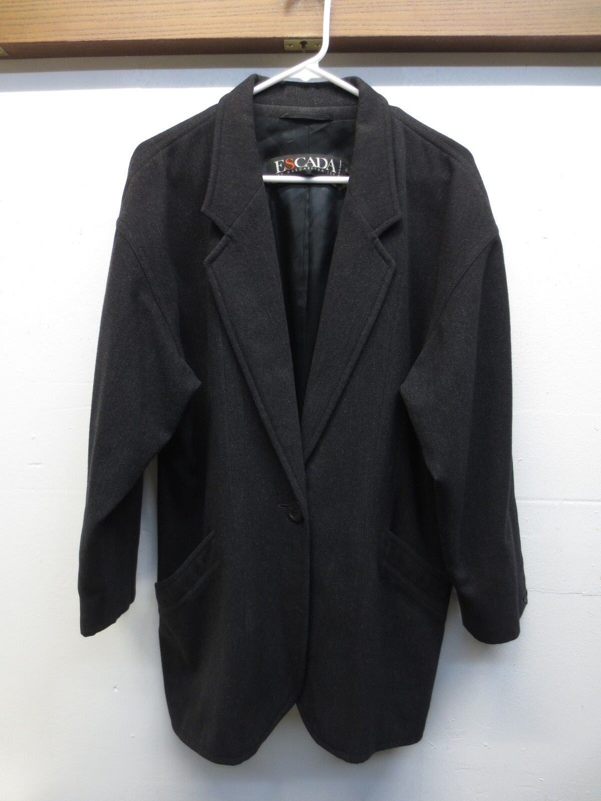 EUC Vtg W. German Escada by Margaretha Ley Wool Blazer Coat Charcoal Sz 42 US 10