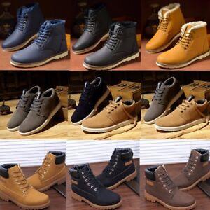 Hiver-Hommes-Bottines-Chaussures-En-Cuir-Double-de-Fourrure-Casual-High-Top-Sneakers