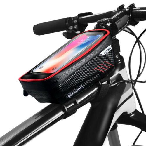 WILDMAN Waterproof Bike MTB Front Tube Cycling Bag 6.5/'/' Touch Screen Phone Case
