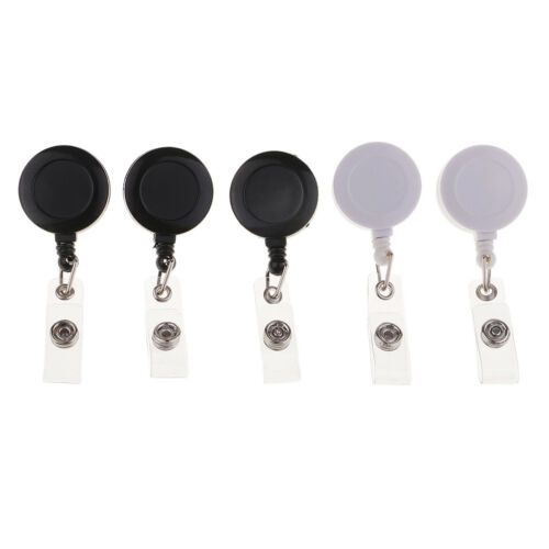 5 Sets Retractable Crocodile Clips Reels ID Clip Card Document Badge Holders