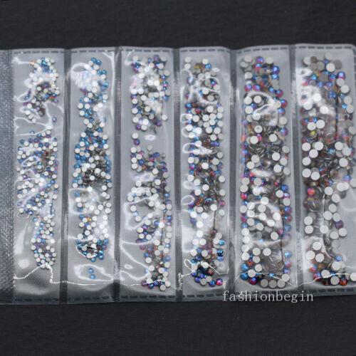 1728p ss3-ss10 redondo de cristal de reverso plano color Pedrería Decoración de Arte en Uñas Mezcla de tamaño
