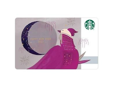 Starbucks Korea 2017 New Year Rooster Purple Card with Matching Sleeve